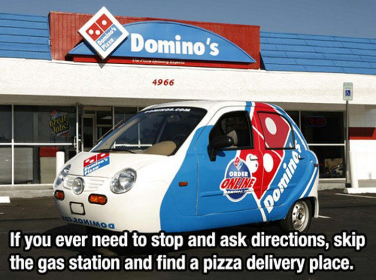 52 Cleaning and Life Hacks - If you ever need to stop and ask directions, skip the gas station and find a pizza delivery place.