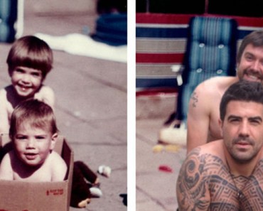 Brothers Recreated Childhood Photos for Parents Anniversary.