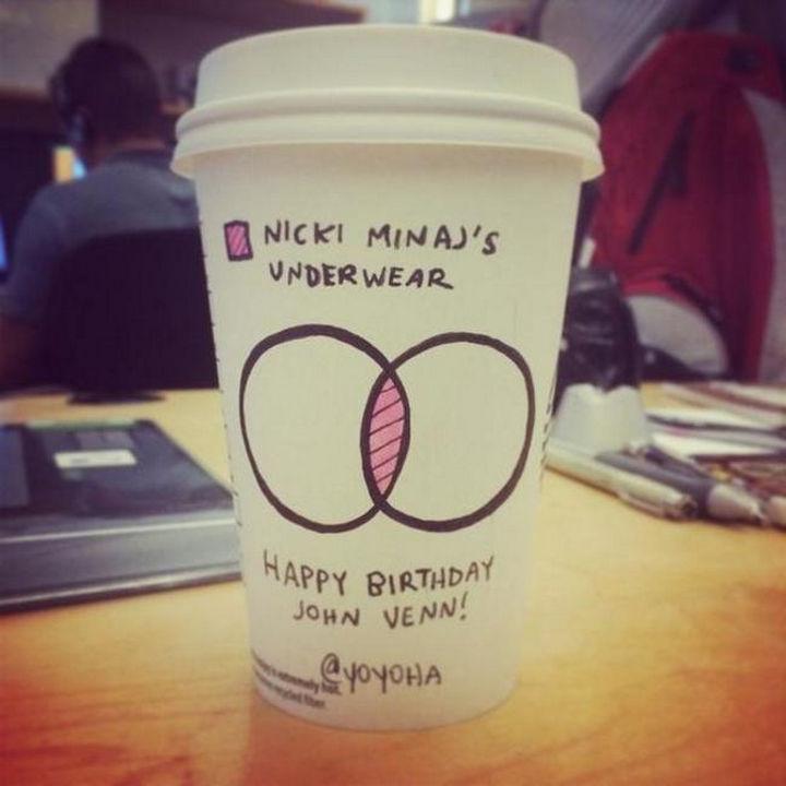 Starbucks Cup Drawings by Josh Hara - Nicki Minaj's underwear.