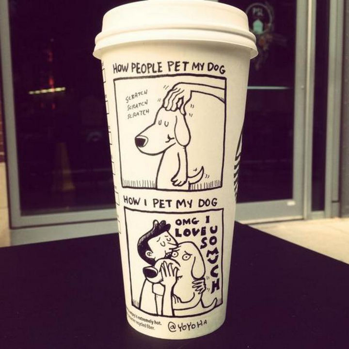 Starbucks Cup Drawings by Josh Hara - How people pet my dog...Scratch, scratch, scratch.