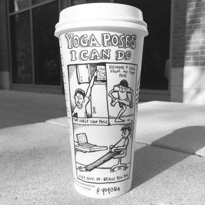 Starbucks Cup Drawings by Josh Hara - Yoga poses I can do.