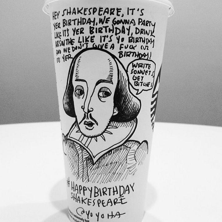 Starbucks Cup Drawings by Josh Hara - Happy Birthday Shakespeare.