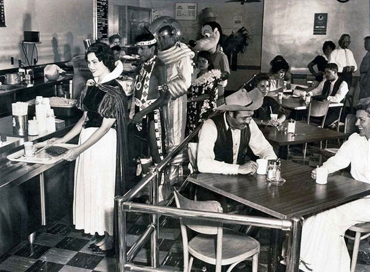 21 Historical Photos - Employee Cafeteria at Disneyland, 1961.