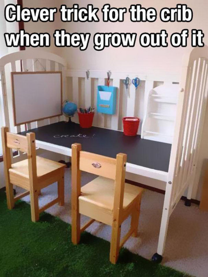 24 Life Hacks for Kids - Repurpose their old crib and create a drawing station they'll love.