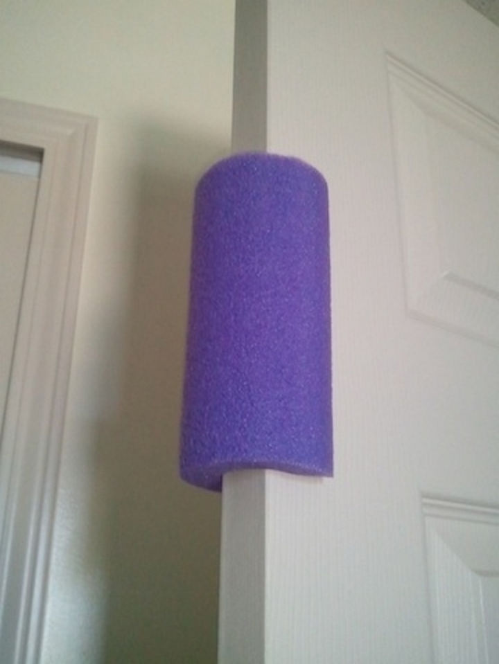 24 Life Hacks for Kids - Trim a pool noodle and wrap it around the door to prevent it from slamming their fingers.