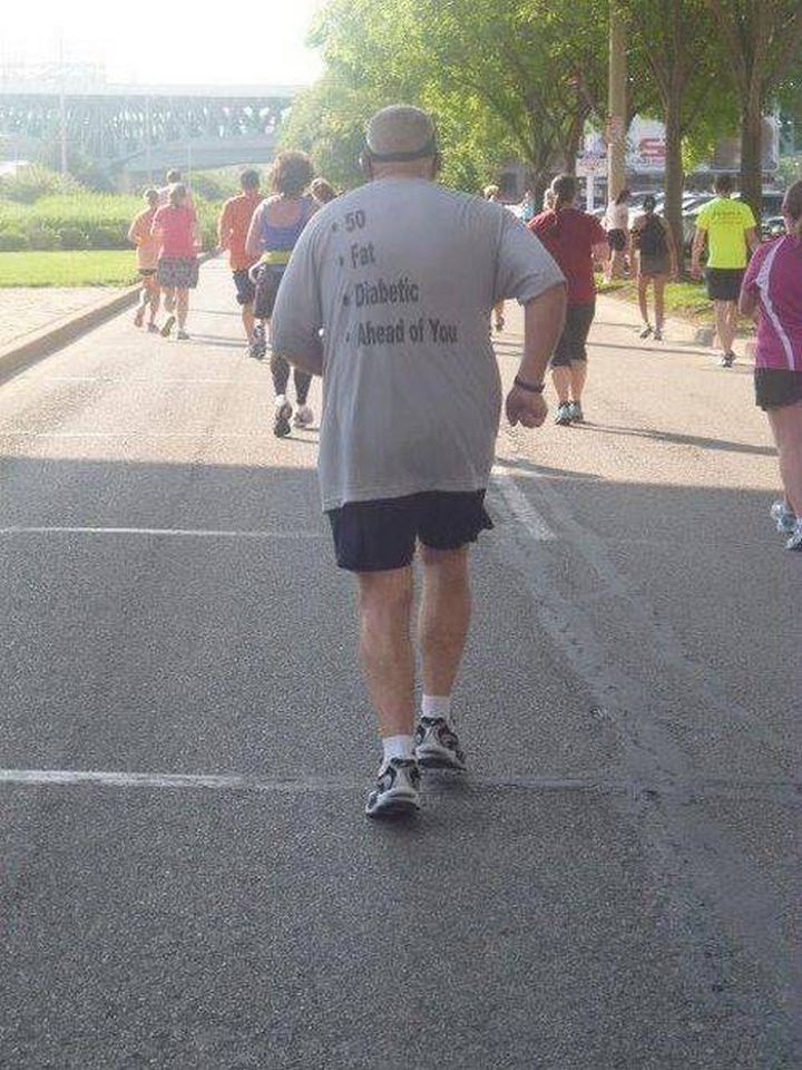 11 Seniors Wearing Funny Shirts - Funniest marathon t-shirt ever.