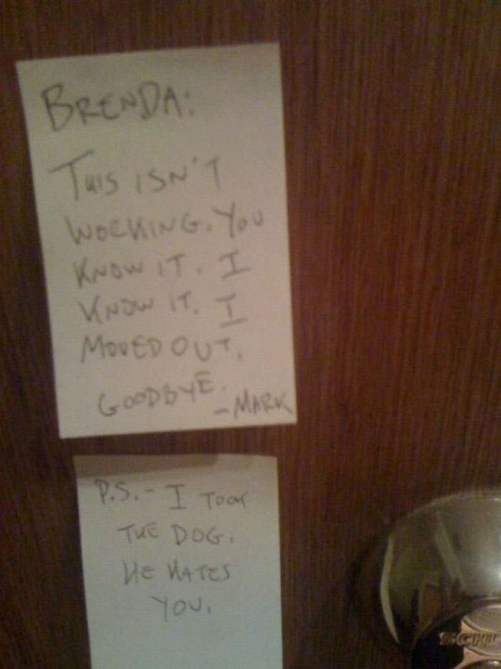 10 Breakup Letters You Won't Believe Are Real - Ouch! Even the dog.