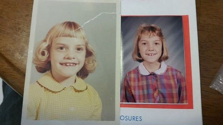 28 Identical Parent and Child Photos - Mother and daughter in 1st grade class photo.