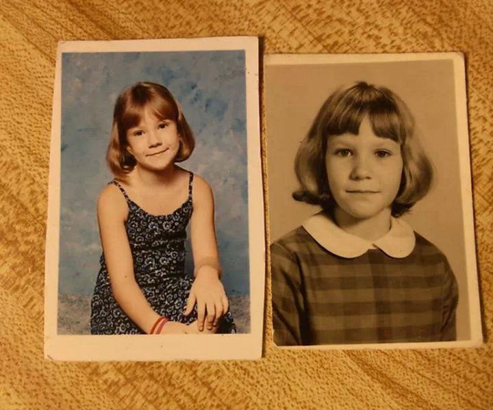 28 Identical Parent and Child Photos - Daughter in 2nd grade and her mother in the 3rd grade.