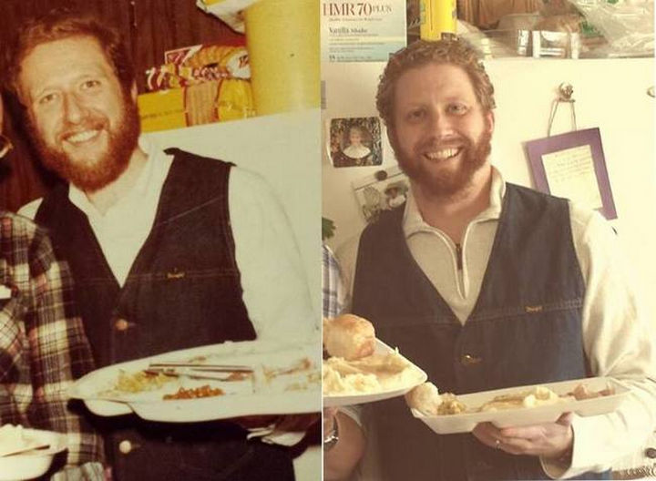 28 Identical Parent and Child Photos - Father pictured in 1978 and son in 2013.