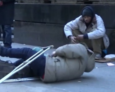 When a Homeless Man on Crutches Falls, You'll Be Shocked.