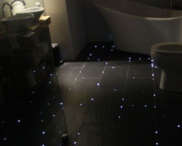 This Man Transformed His Bathroom to Look a Sky Full of Stars.