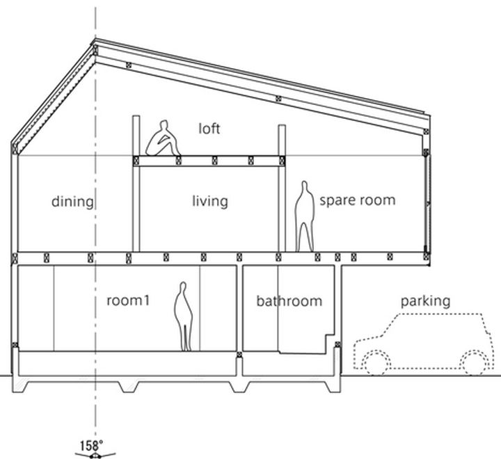 Small House Design in Japan - The floor plans illustrate just how much living space there is and it's impressive in a home with such a small footprint.
