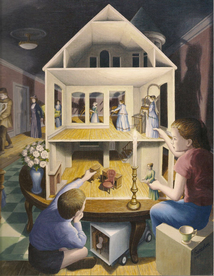 Rob Gonsalves Paintings - Doll's Dreamhouse.