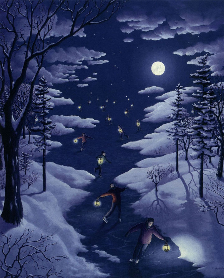 Rob Gonsalves Paintings - Nocturnal Skating.