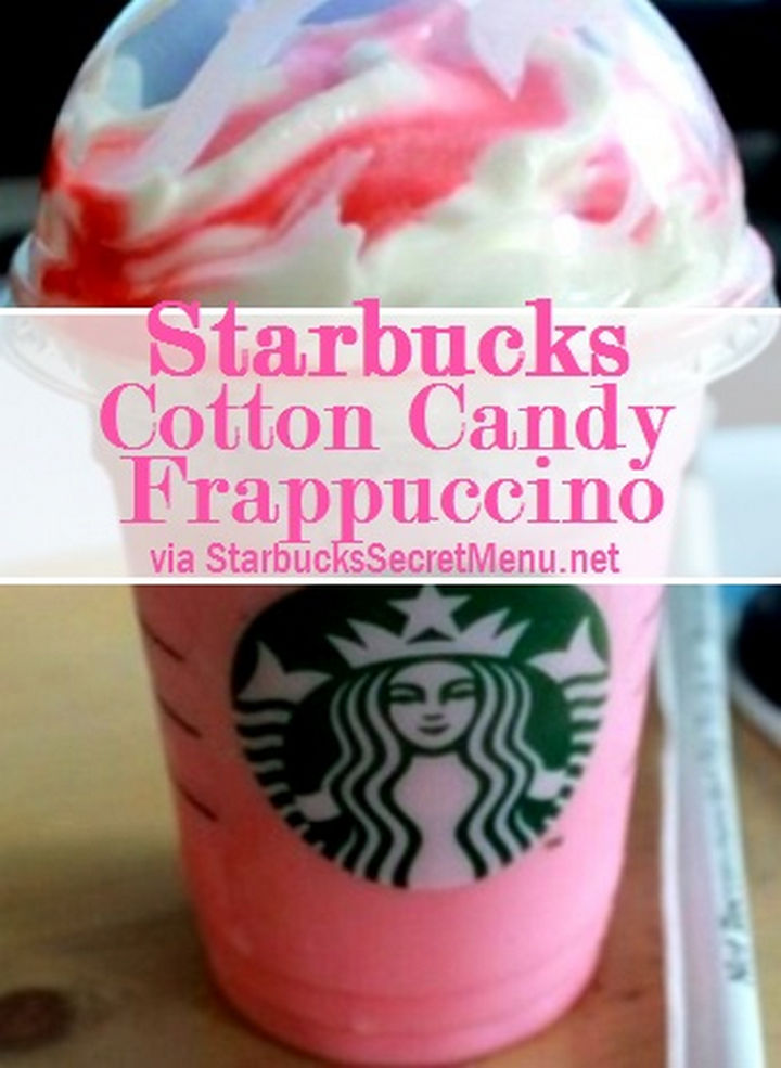 39 Starbucks Secret Menu Drinks - Cotton Candy Frappuccino recipe.