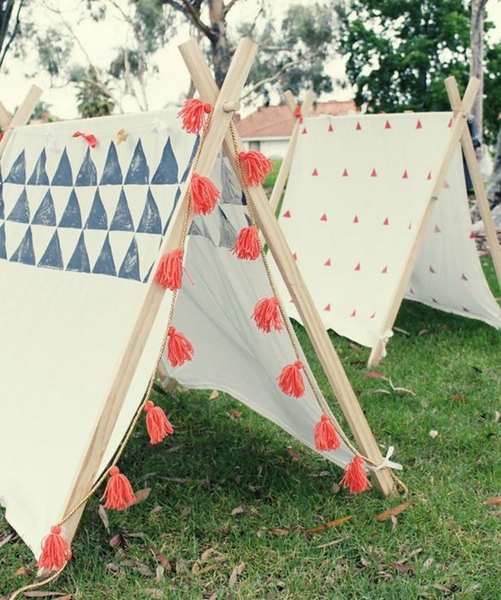 34 DIY Backyard Ideas for the Summer - Build awesome A-frame tents for kids.