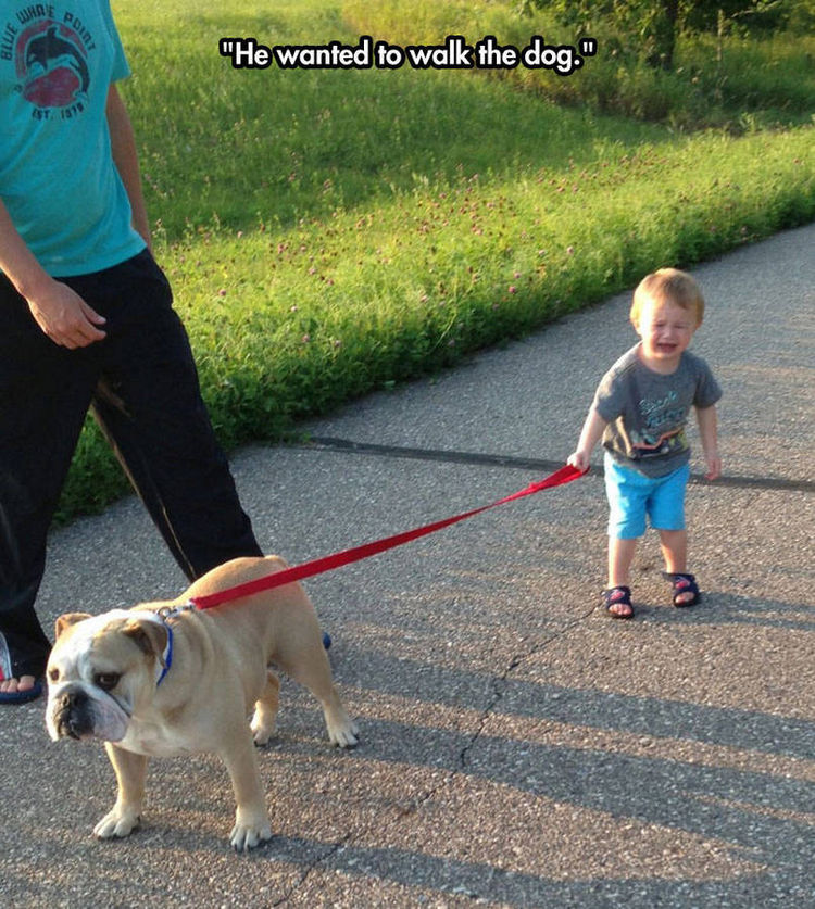 37 Photos of Kids Losing It - He wanted to walk the dog.