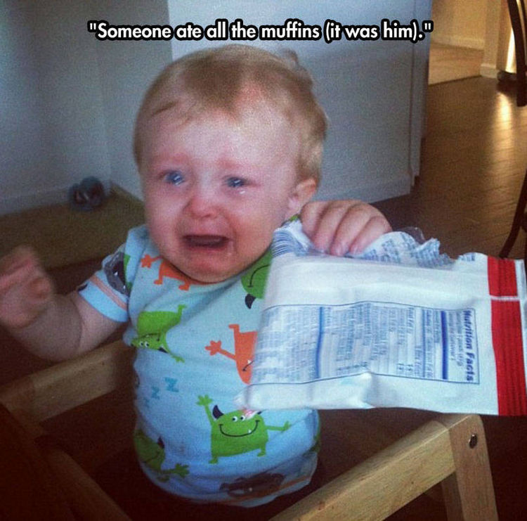 37 Photos of Kids Losing It - Someone ate all the muffins (it was him).