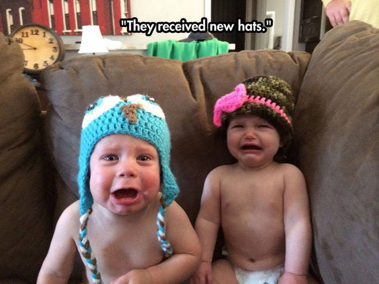 37 Photos of Kids Losing It - They received new hats.