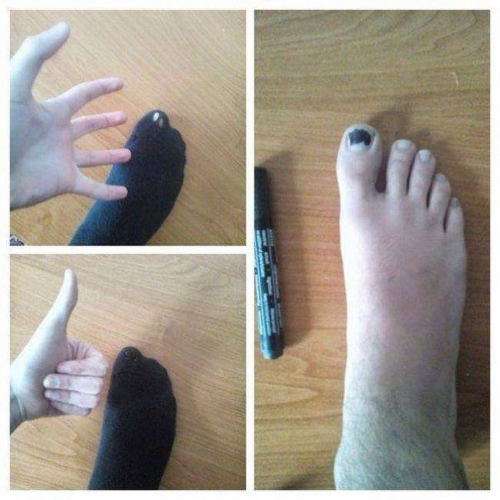 51 Crazy Life Hacks - Fix that hole in your sock with a Sharpie!
