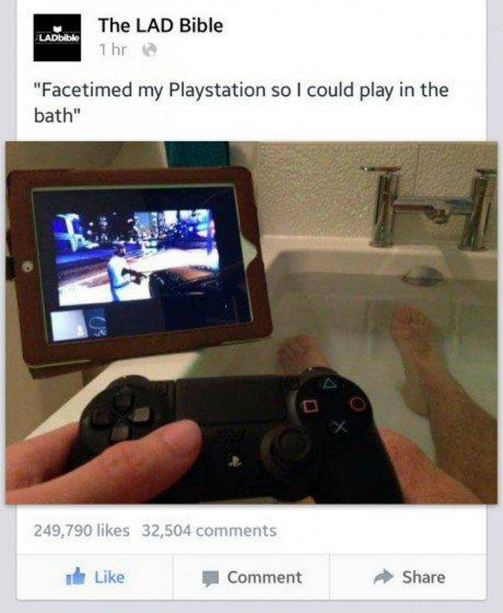 51 Crazy Life Hacks - Not a bad way to play games anywhere in the house.