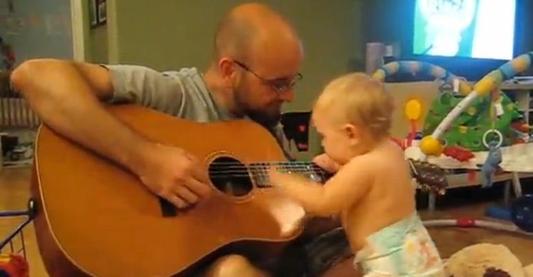 Daddy Starts Playing a Bon Jovi Song and Baby Dances to Bon Jovi