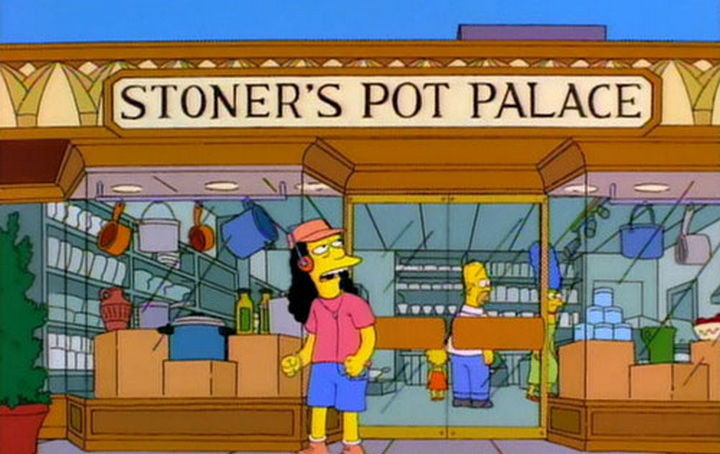 "31 Funny Simpsons Signs - ""Stoner's Pot Palace."""
