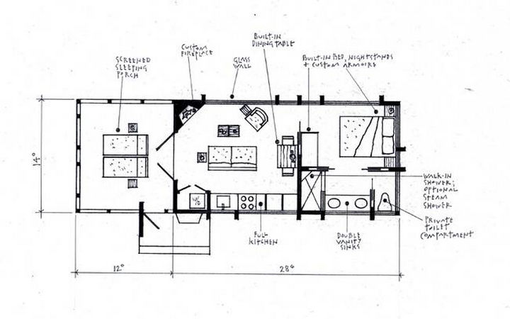 The floor plan showcases all of the amenities of ESCAPE Park Models. Camping doesn't get any more comfortable than this.