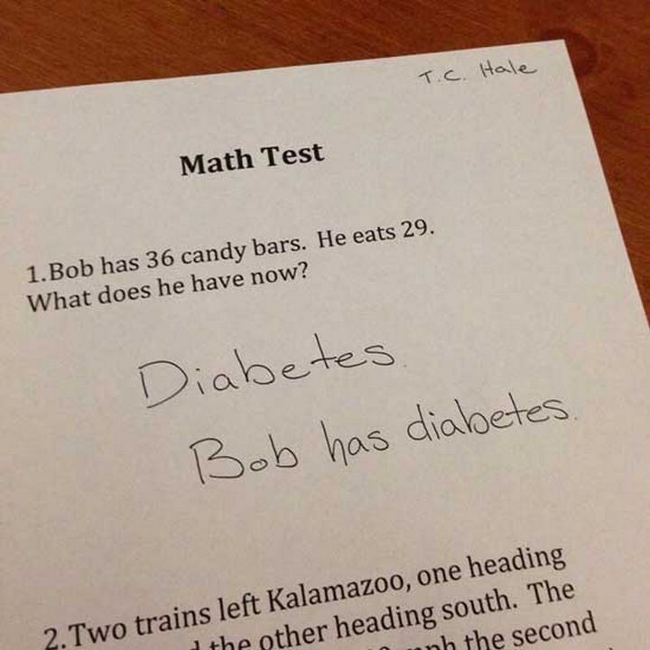 25 Funny Test Answers From Funny Kids - That's a lot of candy bars.