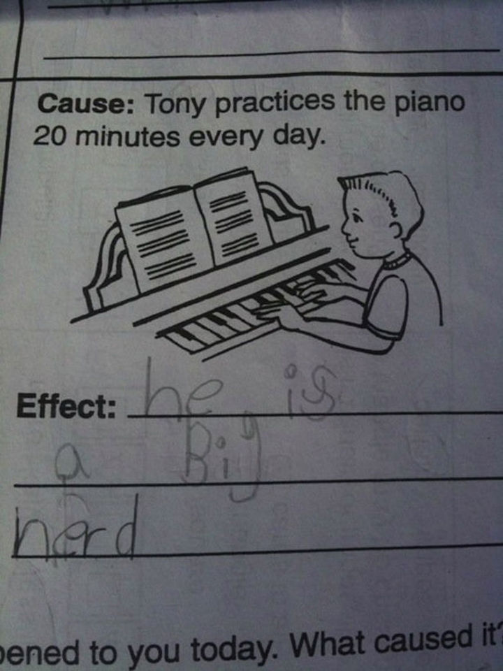 25 Funny Test Answers From Funny Kids - It's not easy being Tony.