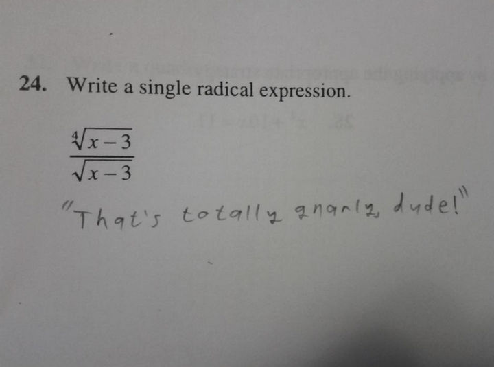 25 Funny Test Answers From Funny Kids - That's radical.