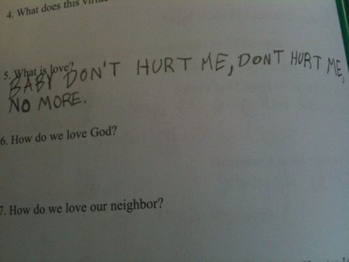 25 Funny Test Answers From Funny Kids - Breaking out into song.