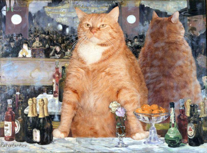 Fat Cat Photobombs Famous Paintings - A Bar at the Folies-Bergère, Édouard Manet (1882)