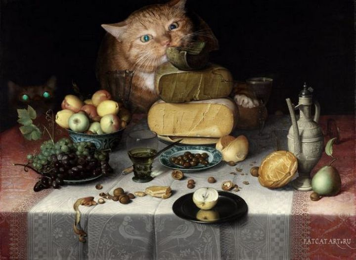 Fat Cat Photobombs Famous Paintings - Still Life with Cheese, Floris van Dyck (1615).