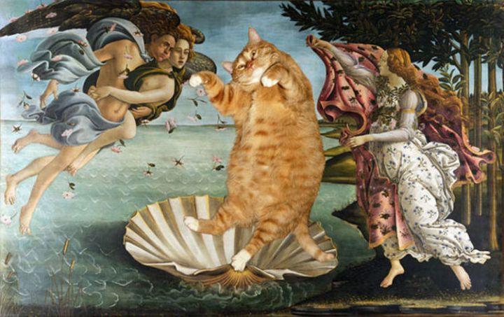 Fat Cat Photobombs Famous Paintings - The Birth of Venus, Sandro Botticelli (1486).