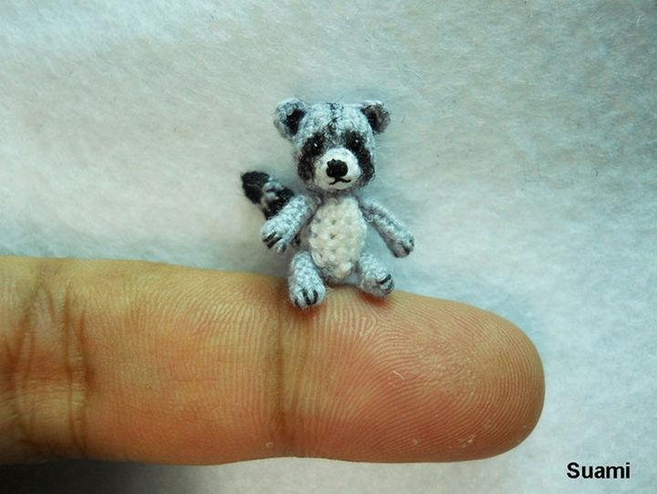 Gray crochet raccoon.