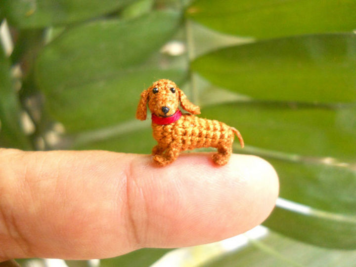 Mini stuffed crochet dachshund.