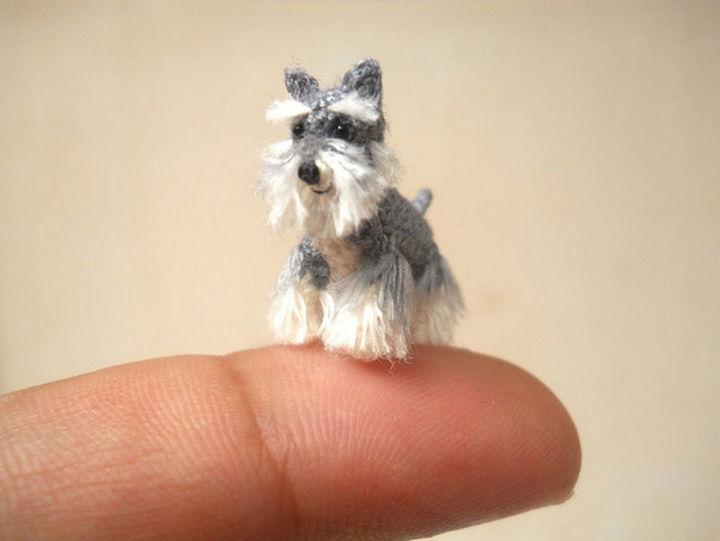 Miniature crochet Schnauzer.