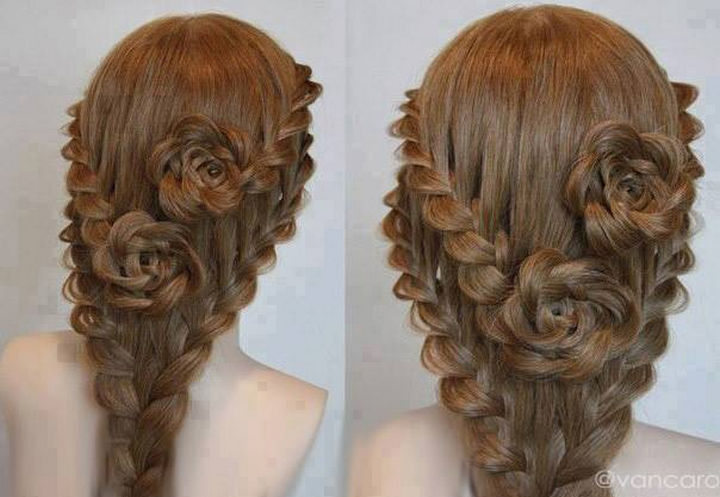 17 Disney Princess Hairstyles - Braided roses that are guaranteed to garner attention.