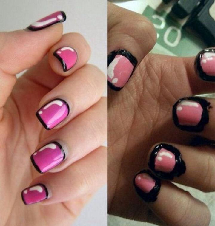 18 Pinterest Beauty Fails - I think nail polish should be applied to nails, not skin too.