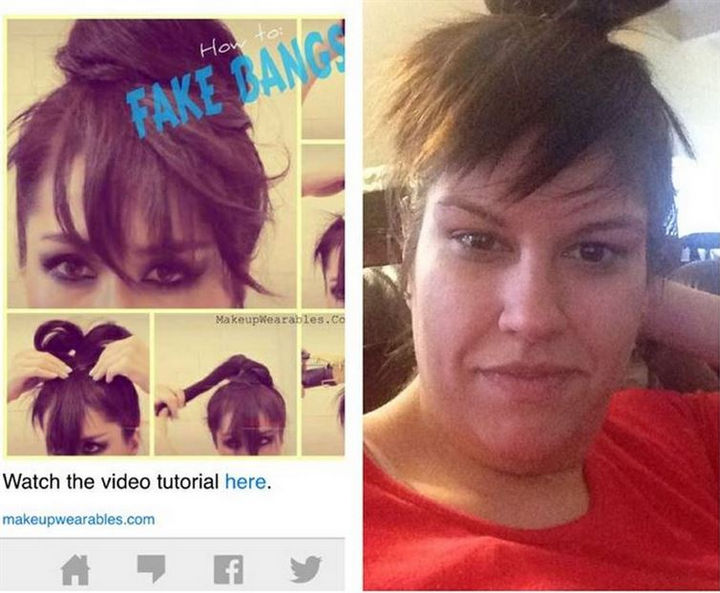 18 Pinterest Beauty Fails - How to NOT do fake bangs.