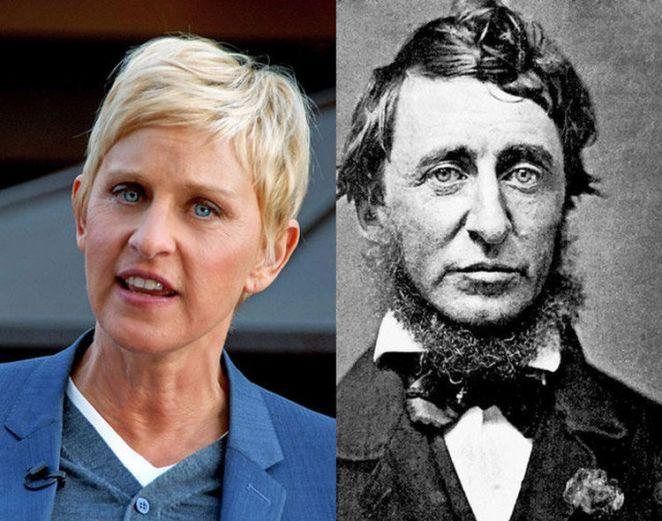 20 Celebrity Historical Doppelgangers - Ellen DeGeneres and author Henry David Thoreau.
