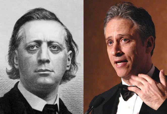 20 Celebrity Historical Doppelgangers - Jon Stewart and Christian minister Henry Ward Beecher.