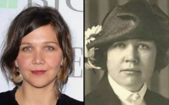 20 Celebrity Historical Doppelgangers - Maggie Gylenhaal and historical journalist and women's rights leader, Rose Wilder Lane.