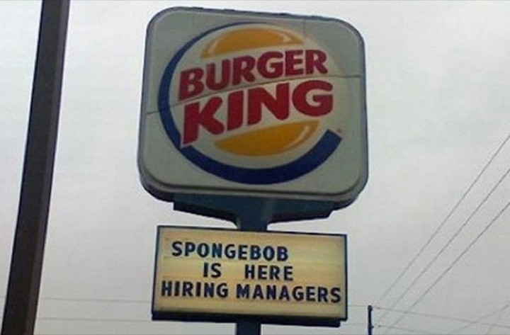 "21 Funny Spelling Mistakes - ""Spongebob is here hiring managers."""