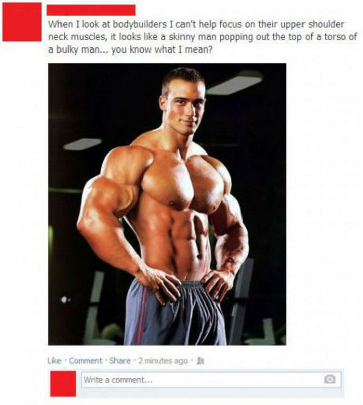 25 Things That Can't Be Unseen - A bodybuilder does appear like a skinny man popping out the top of a bulky man.