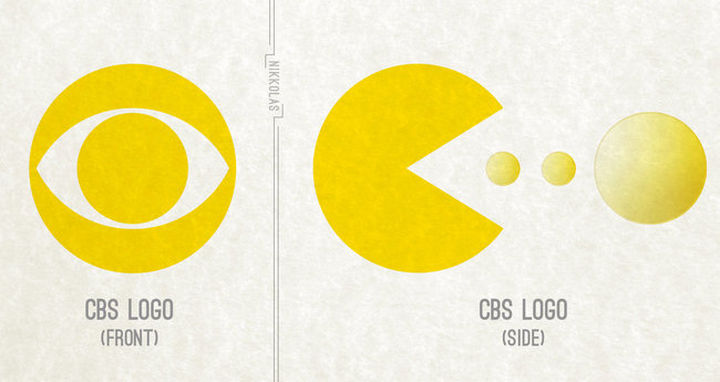 25 Things That Can't Be Unseen - CBS logo looks like Pac-Man.