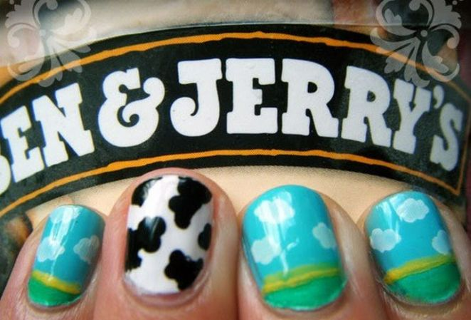 13 Food Nails Inspired by the Love of Food - Ben & Jerry's nail manicure.