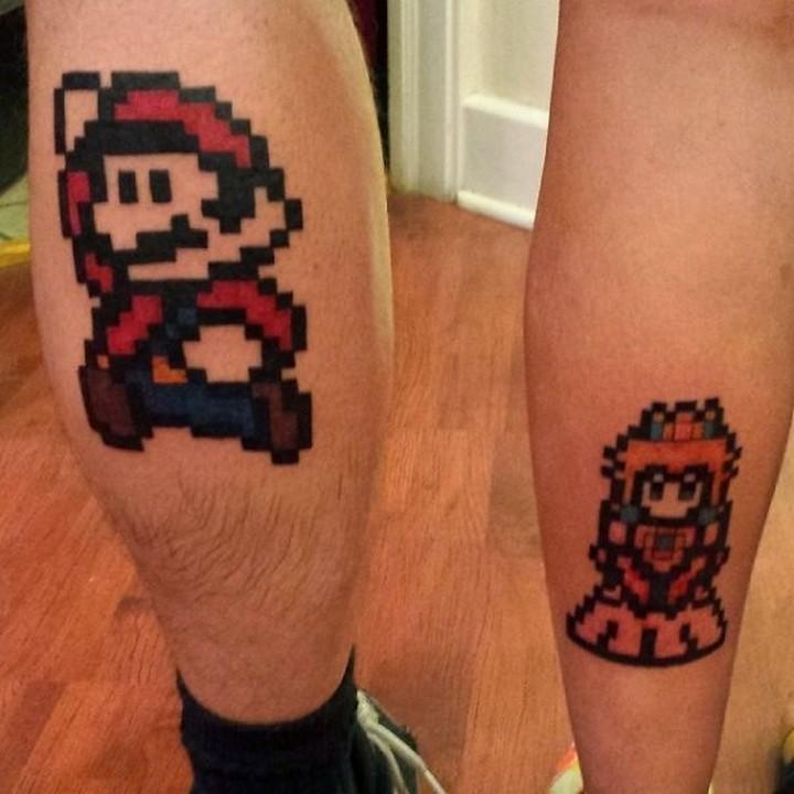 35 couple tattoos - Super Mario and Princess Peach couple tattoos.